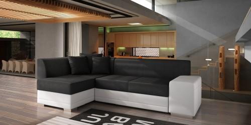Moderno City sofa og sovesofa i hvid med sorte hynder