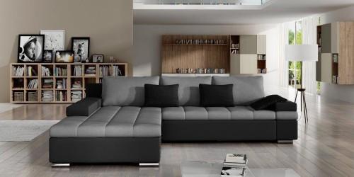 Moderno Toscana , Stor stilfuld sofa med sovefunktion i hvid med Casablanca grå hynder
